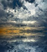 Amazing Storm Clouds Seascape Background. Sea Landscape And Overcast Dark Sky poster