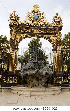 The Fountain Of Neptune And Gilded Gate In Nancy, France