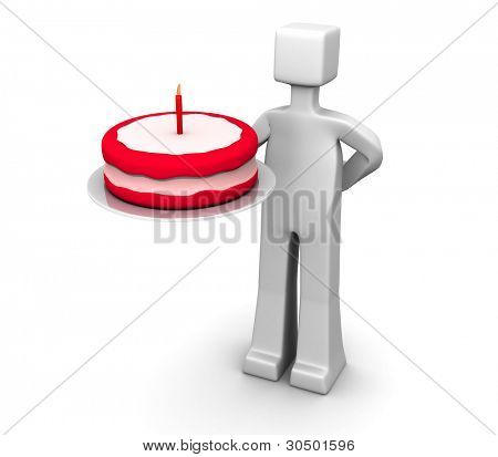 Man holding a birthday cake 3d illustration