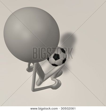 A Figure Is Juggling A Football - Top View