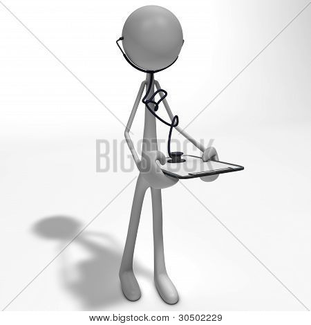 Figure With A Stethoscope And Clipboard