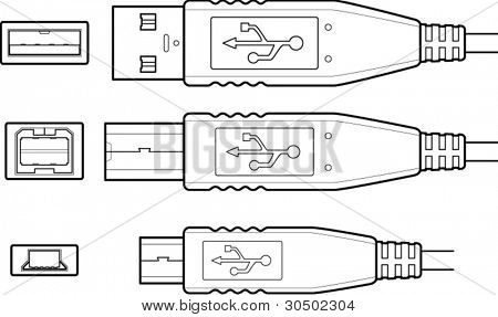 usb connectorsor plugs  in different sizes line art