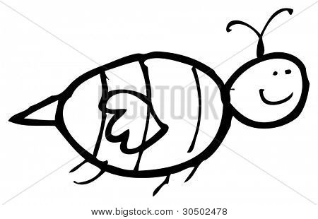authentic looking child's drawing of a bee