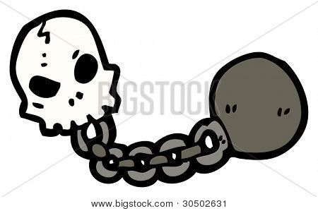 skull with ball and chain cartoon