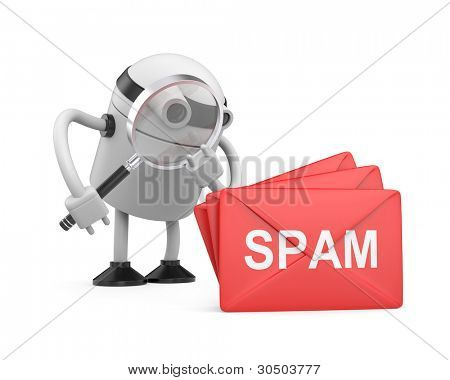 Antispam 3d robot. Image contain clipping path
