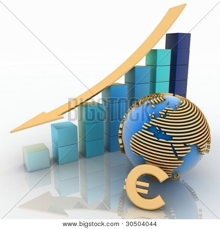 lowering chart with arrow and symbol of euro