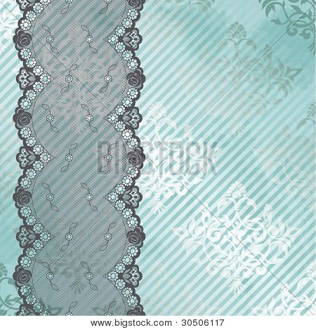 Silver and blue background with black lace