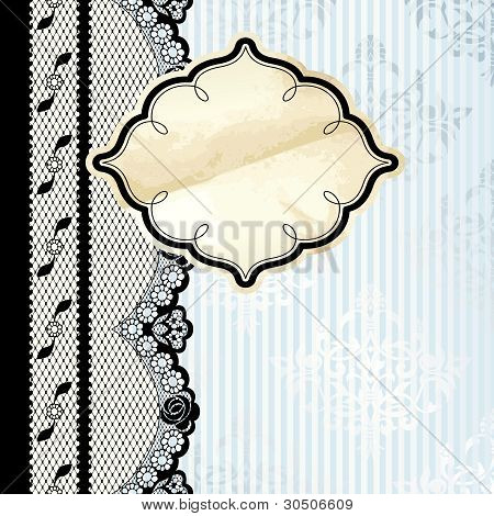 Metallic label with black lace