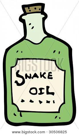 botella de aceite de serpiente de dibujos animados