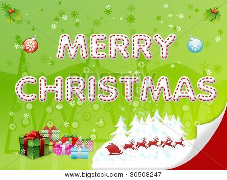 Merry Christmas illustration on the light green background
