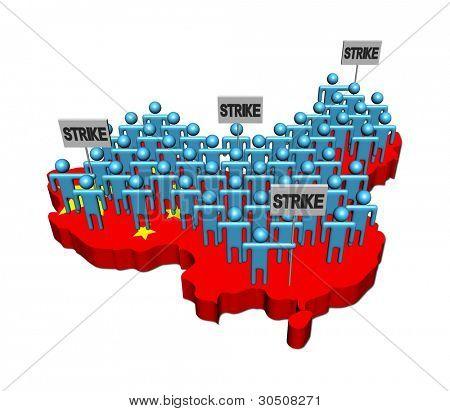 trabalhadores em greve em ilustração de bandeira China mapa