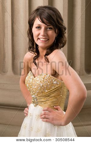 Teenage Woman In Graduation Dress