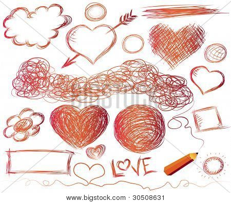 Hand-drawn hearts, and other doodled elements with a pencil - Jpeg version of vector illustration