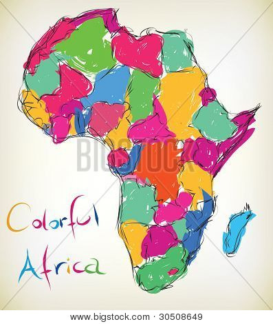 Hand-drawn illustration of the map of Africa - Jpeg version of vector illustration