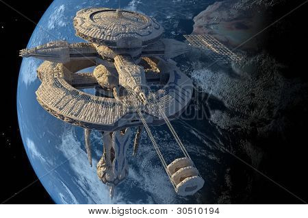 Space station in outer space.