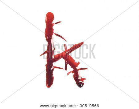 Dripping slashed blood fonts the letter lower case k
