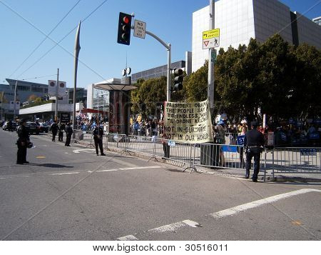 Protesters Hold Large Sign Behind Sfpd Fence