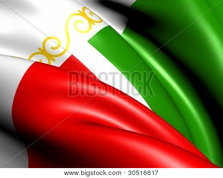Flag Of Chechen Republic, Russia.