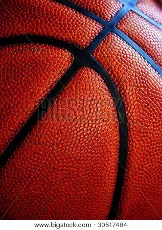 Closeup de textura en baloncesto de cuero gastado viejo