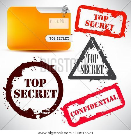 "Sellado de carpeta con documentos ""Top Secret"""