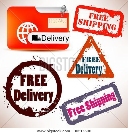 "Set of Badges, Labels, Tags ""FREE DELIVERY"". Vector illustration. Grunge stamp with text"