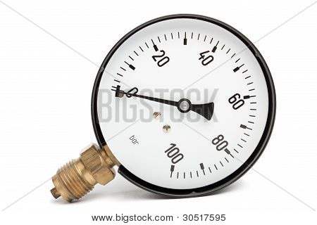 oil and gas pressure gauge isolated On White