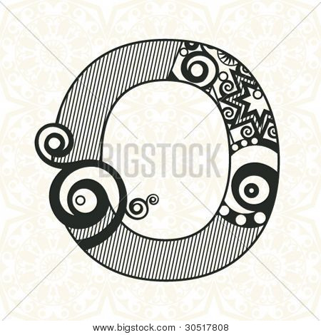 abstract floral ABC, ornamental letter O
