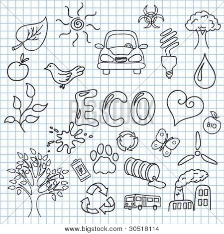 Vector illustration of the images on the theme of ecology