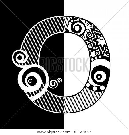 abstract black and white ABC, ornamental letter O
