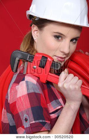 A female plumber.