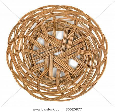 Wicker Brown Basket Of Bread Or Fruit
