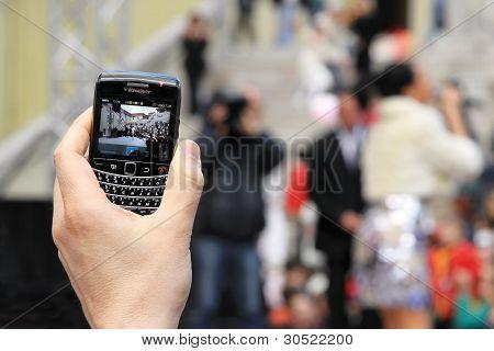 Hand Aufnahme per Telefon