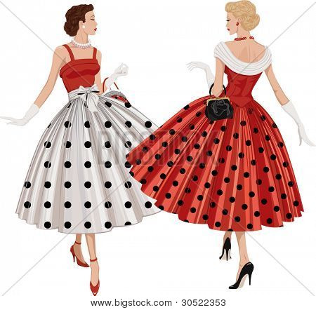 Two elegant women the brunette and the blonde dressed in polka dots garments inspect each other passing by