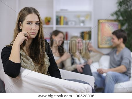 jealousy or lovesickness: woman and man with girls in background