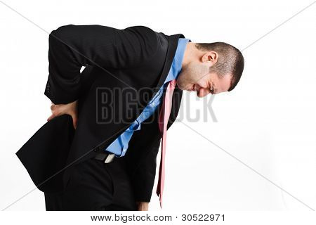 Man suffering for backache. Isolated on white