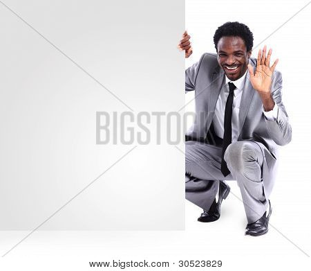 black businessman with panel isolated