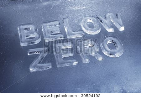 Words Below Zero made of real ice letters.