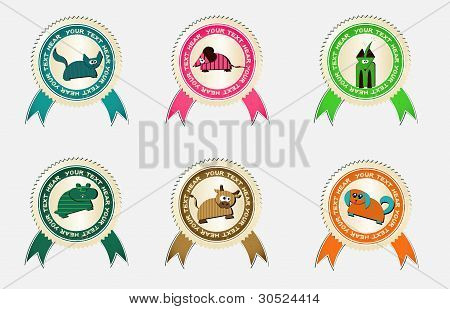 vector labels with pets
