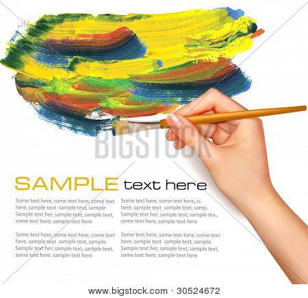 Abstract watercolor Background with Hand. Vektor-Illustration.