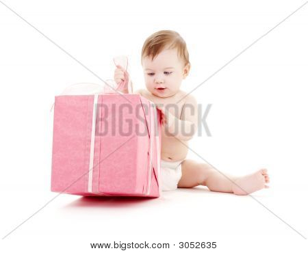 Baby Boy In Diaper With Big Gift Box #2