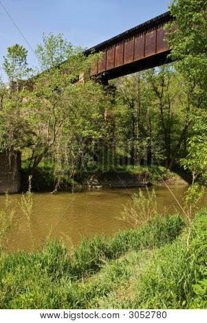 Railroad Trestle Over A River