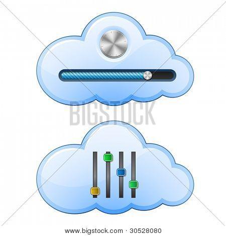 Cloud Hosting Control Elements. Vector Illustration