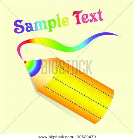 Yellow Pencil With Rainbow Lead On Beige Background. Vector