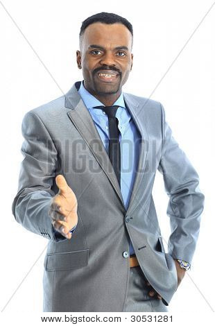 Friendly Afro-American businessman greeting with handshake