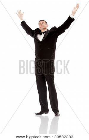 The elegant man in a classical tuxedo