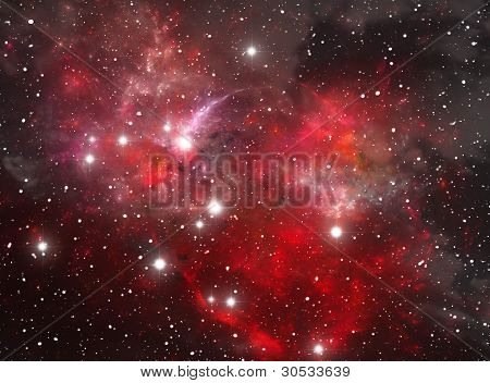 Red Space Star Nebula