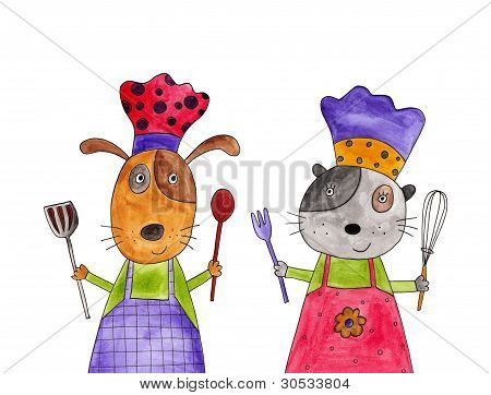 Cooks. Cartoon characters
