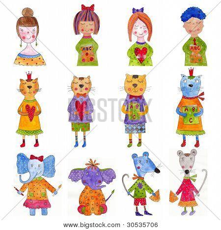 Set of cartoon characters
