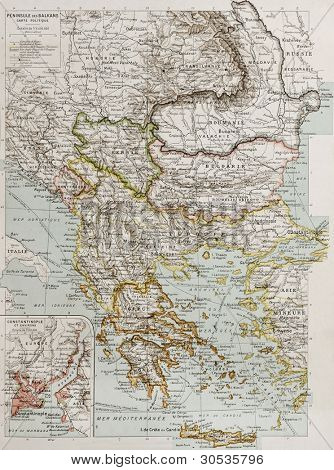 Balcan peninsula political map with Constantinople and Bosphorus insert plan. By Paul Vidal de Lablache, Atlas Classique, Librerie Colin, Paris, 1894 (first edition)