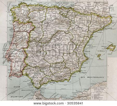 Mapa político de España y Portugal. Por Paul Vidal de Lablache, Atlas Classique, Librerie Colin, París,